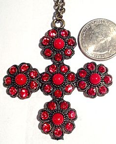 Large Vintage Pendant Red Rhinestone Maltese Cross Neckalce (Image1)