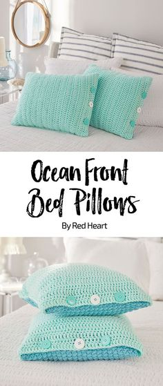 Ocean Front Bed Pillow free crochet pattern With Love yarn. Crochet covers for regular bed pillows to add color and interest to your bed. They are designed with a different color and pattern on each side of the pillow, and have a button closure for easy wash-ability.