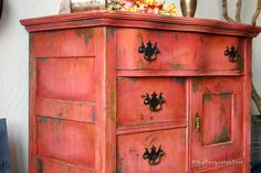 The Turquoise Iris ~ Vintage Modern Hand Painted Furniture Rustic Boho Farmhouse #paintedrusticfurniture