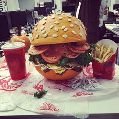 Pin for Later: Carve Your Pumpkin Into . . . A BURGER This Halloween A Complete Meal