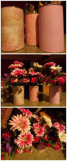 Made these for a baby shower (idea can be use for many things or gift ideas) center piece using a can for the vase and decorating it up by adding some craft paper to go with the theme and then added some wonderful colorful flowers to make the grouping come to life. Add rocks to give it weight and you have a really easy center piece.