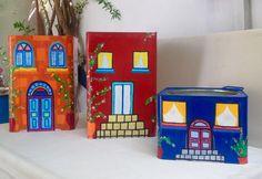 Glass Bottle Crafts, Bottle Art, Tin Can Art, Fairy Garden Furniture, Mediterranean Garden, Art N Craft, Painted Pots, Diy Painting, Flower Pots