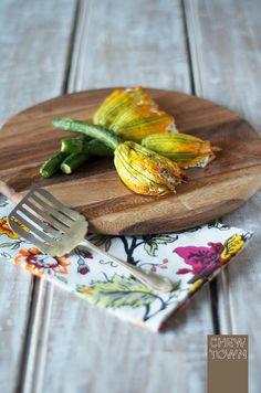 Baked Stuffed Zucchini Flowers Recipe | Chew Town Food Blog- bakef as an alternative to deep fried might be okay.