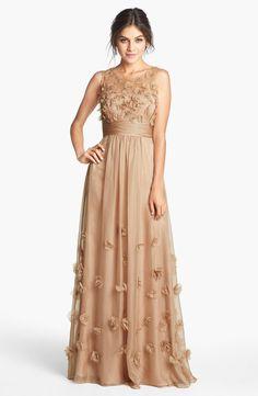 Floral Appliqué Chiffon Gown