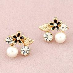 Korean Fashion Czech Rhinestone and Pearl Embellished Flower and Leave Ear Studs - Black