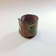 Hand Tooled Leather Cuff Bracelet - Intricate Eclectic Design