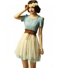 Cool! Fashion Nice Vintage Denim Gauze Skirt Dress just $24.99 from ByGoods.com! I can't wait to get it!
