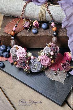 """Купить Колье """"В саду из роз"""" - розовый, коричневый, серо-коричневый, серо-розовый"""
