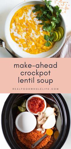 This golden glow slow cooker red lentil soup recipe is perfect for busy weeks! Such an easy dinner idea to just throw in your crockpot. Includes instant pot and stovetop directions too!