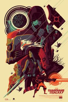 """Guardians of the Galaxy"" Regular Edition:Artist: Tom Whalen Size: 24x36 Regular Edition: 325 Printed By: D & L Screen Printing"