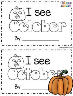 October Math and Literacy Pack – FREEBIES — Keeping My Kiddo Busy MINI BOOK – I see October emergent reader for kindergarten and pre-k reading groups – october literacy centers try FREE printables and ideas for reading Kindergarten Lesson Plans, Kindergarten Lessons, Preschool Curriculum, Kindergarten Classroom, Kindergarten Activities, Homeschooling, Preschool Attendance Ideas, Classroom Decor, Math Lessons
