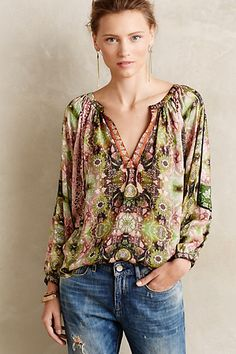 Kali Peasant Top - anthropologie.com I'd make this a regular placket instead of a V neck, modest and will show off the top better!