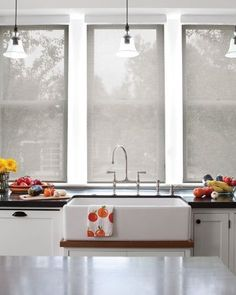 Solar shades from Smith & Noble. For living room. Modern Window Treatments, Kitchen Window Treatments, House Blinds, House Windows, Budget Blinds, Solar Shades, Shades Blinds, Curtains With Blinds, Window Coverings