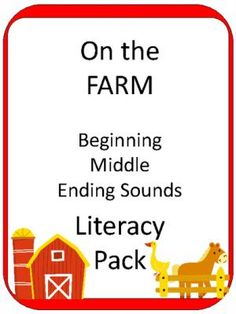 FARM: Beginning Middle Ending Sound Literacy Center from Teaching my Two on TeachersNotebook.com -  (55 pages)  - This is a fun Literacy Center for Beginning, Middle and Ending Sounds.   This pack starts with a Beginning and Ending Sound Sort, and then includes the following for EACH Beginning, Ending and Middle/Vowel Sound:  - Clip a letter cards (1 set for each beg