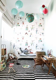 LOVE this fun wallpaper for a kid's room (wallpaper from Pierre Frey, image via Constance Gennari)