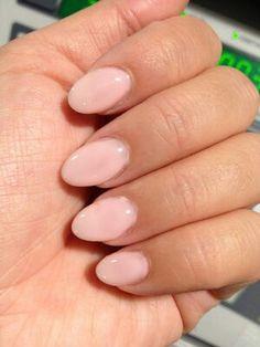 Opi gel nail polish in bubble bath. Love the short stiletto nails.