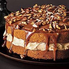 Pecan Cake with Caramel Mousse and Brown Sugar Topping | MyRecipes.com