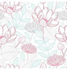 Modern line art florals seamless pattern vector lotus flower by Oksancia on VectorStock®