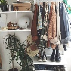 (paid link) Who knew racks and stacks of clothes could be so inspiring? We help your closet feel beautiful. See more ideas about Clothes rack bedroom, interior, home ... #clothesrackbedroom