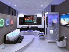 futuristic bathroom Dream Bathrooms, Amazing Bathrooms, Luxury Bathrooms, Modern Bathrooms, Coolest Bathrooms, Master Bathrooms, Teenage Girl Bathrooms, Deco Gamer, Bathroom Gadgets