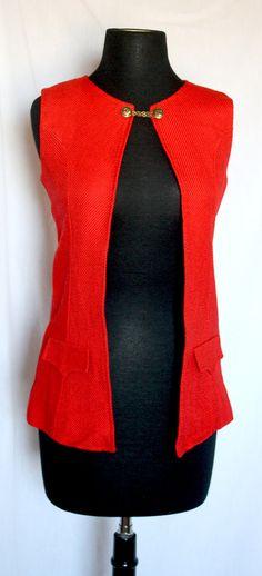 Vintage 1970s Red Corduroy Textured Vest by VarietyVintagebyALD, $20.50