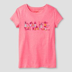 Budding ballerinas will love the Girls' Dance Graphic Tee by Cat & Jack. With a classic T-shirt cut and comfy jersey knit fabric, this girls' tee is a wardrobe basic she'll wear again and again. Plus, it's guaranteed. Cat & Jack is made to last, but if anything doesn't, you can return it up to 1 year later with your receipt.