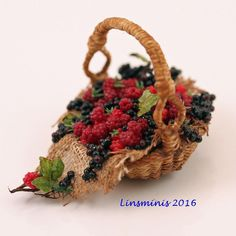 12th Scale Miniature ** Raspberry & Blackcurrant Basket **...IGMA Fellow…