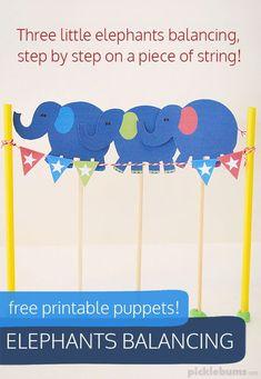 Elephants Balancing - free printable puppets