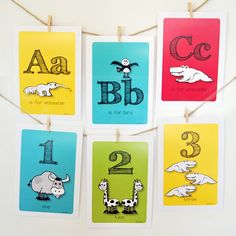 Alphabet Farm & Number Zoo Flash Cards combo pack (with hanging supplies) - by HAZYprints on madeit.com.au