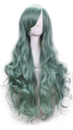 Pruik / Pastel groen golvend  / 80 cm
