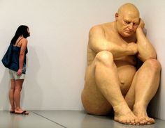 Ron Mueck | I would call this sculpture 'Alone With His Thoughts' (DB)