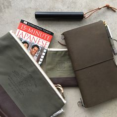 Planning my next trip to Japan. Started gathering my everyday travel carry, first are #superiorlabor Engineer Pouches (so practical), #travelersnotebook & my portable #ystudio #fountainpen  The guy who wrote this book says I'll be able to speak Japanese in 15 minutes -I think    素晴らしい !  #wanderlust #everydaycarry 