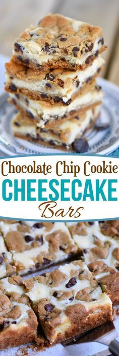 These easy Chocolate Chip Cookie Cheesecake Bars are made with just five ingredients! This easy dessert recipe will satisfy all your cravings! // Mom On Timeout