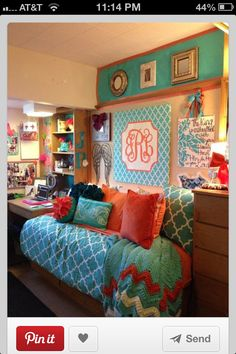 Dorm idea for college, I like the colors, instead of the monogram a collage or photography