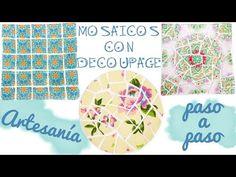 CÓMO HACER MOSAICOS CON DECOUPAGE - ARTESANÍA PASO A PASO - YouTube Decoupage Tutorial, Stencils, Mixed Media, Scrapbook, Paper, Videos, Projects, Crafts, Diy