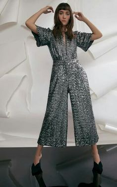 M'O Exclusive Alexis Asla Sequin Cropped Jumpsuit