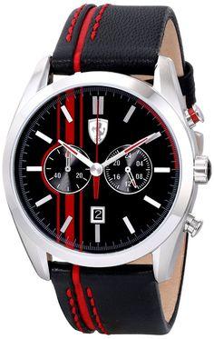 Men watches : Ferrari Men's 0830177 D 50 Analog Display Quartz Black Watch