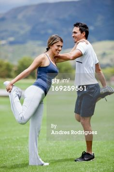 Royalty-free Image: Hispanic couple stretching together