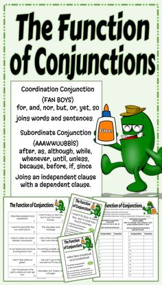 Locate the conjunction in a sentence and determine its function. This standards aligned activity will help the students understand how a conjunction functions within a sentence. The activity focuses on what the conjunction is connecting, words, sentences,