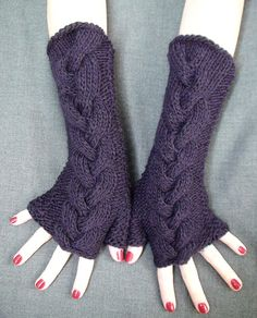 Fingerless Gloves Warm Wrist Warmers Purple Dark Violet Cabled  Extra Long and Soft, $38.00