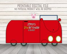 PRINTABLE Peppa Pig Red Car Photo Booth Prop