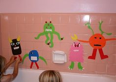 DIY bath time foam cut outs.  Love the monster cut outs but this blog has lots of ideas.