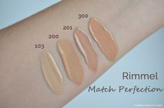 New Rimmel Match Perfection Foundation Swatches: 103 True Ivory, 200 Soft Beige, 201 Classic Beige, 300 Sand.