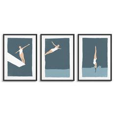 Set of 3 diving woman prints for a gallery wall / Female diver   Etsy Modern Scandinavian Interior, Vintage Ski Posters, Ski Decor, Female Drawing, Beautiful Posters, Modern Art Prints, Typography Prints, Triptych, Custom Art
