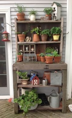 Barn wood potting bench