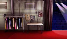 INT AUDITORIUM BACKSTAGE EMPTY NIGHT Cenário anime Interiores Cenário para vídeos