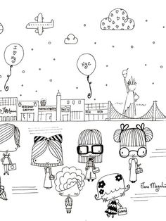 Love these tiny illustrations :) Doodle Drawings, Doodle Art, Easy Drawings, Doodle People, Doodle Lettering, Doodle Inspiration, Doodles Zentangles, Cute Doodles, Jolie Photo
