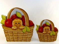 Apple Basket Ginger  Item OHL327 Gingerbread by ByBrendasHand Designers: Pamela House & Annie Lange