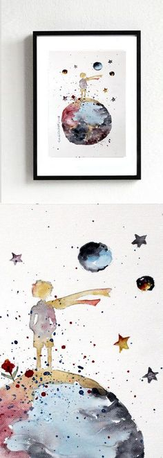nEW -  The LITTLE PRINCE #3- ORIGINAL Watercolor Le Petit Prince Painting Gift Decor Kids Room Art Wall Decor Home - http://home-painting.info/new-the-little-prince-3-original-watercolor-le-petit-prince-painting-gift-decor-kids-room-art-wall-decor-home/