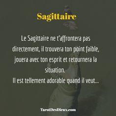 Le #Sagittaire ne t'affrontera pas directement, il trouvera ton point faible, jouera avec ton esprit et retournera la situation.  Il est tellement adorable quand il veut... #astrologie #horoscope